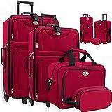 KESSER 4tlg Trolley Kofferset | Reisekoffer Set mit Rollen | Komplettes Business 4er Set | S M L XL...